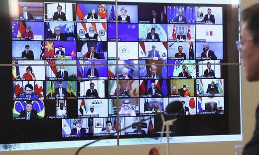 Die Gipfelteilnehmer in der Video-Konferenzschaltung