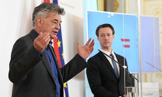 Vizekanzler Kogler und Finanzminister Blümel