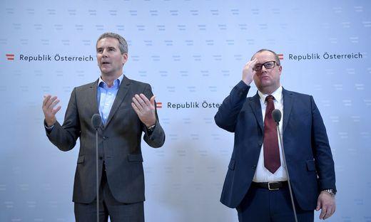 Bauen Bankenaufsicht um: Finanzminister Hartwig Löger und Staatssekretär Hubert Fuchs