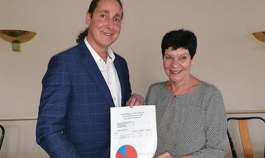 Christian Fürntrath und Manuela Leitgeb mit dem vorläufigen Ergebnis der Betriebsratswahl