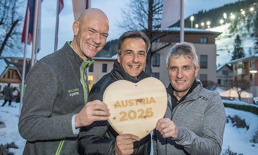 Jürgen Winter (Schladming), Siegfried Nagl (Graz) und Konrad Walk (Hochfilzen)