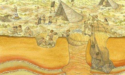 So dürfte der Bergbau in Rein früher ausgesehen haben