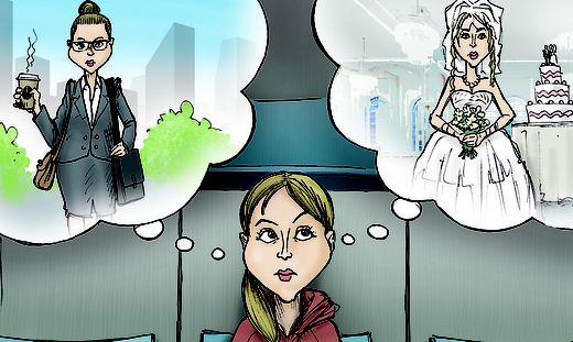 Heiraten oder Vollzeitjob? Zwei unbefriedigende Varianten, um zu einer Versicherung zu kommen.