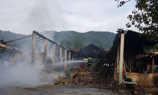 """""""In dem Gebäude, das brannte waren 70 Kühe. In einem Teil lagerte Stroh, im anderen Teil waren die Tiere - nur durch eine Trennwand getrennt."""""""