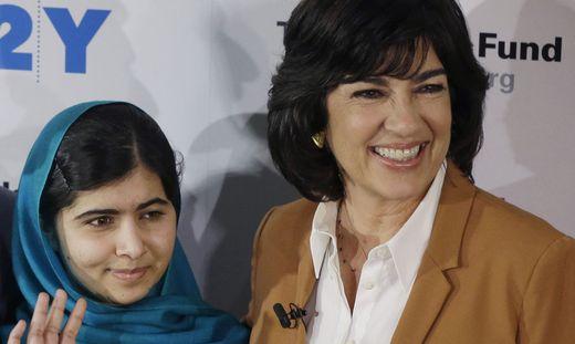 Malala Yousafzai, Christiane Amanpour, Malala Yousafzai, center, her father, Ziauddin Yousafzai