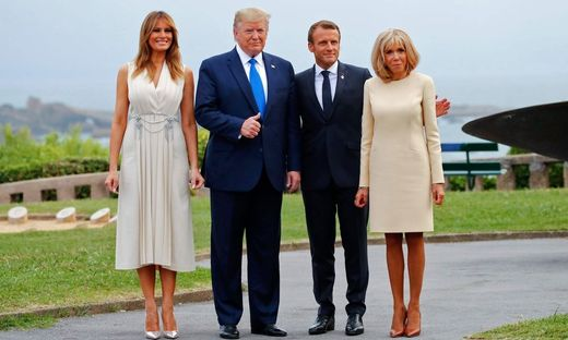 Melania und Donald Trump mit Emmanuel und Brigitte Macron