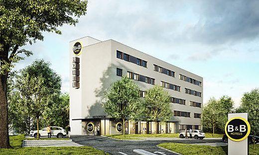 Nach diesem Entwurf wurde 2018 das B&B-Hotel in Graz gebaut, wie das Projekt in Villach aussehen wird, bleibt noch unter Verschluss
