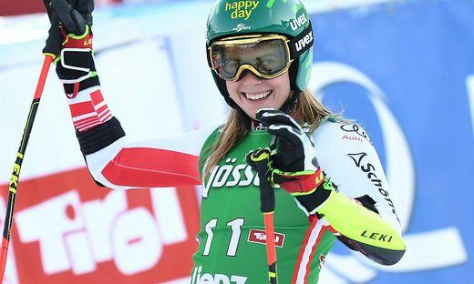 Katharina Liensberger fuhr im Riesentorlauf erstmals auf das Podium