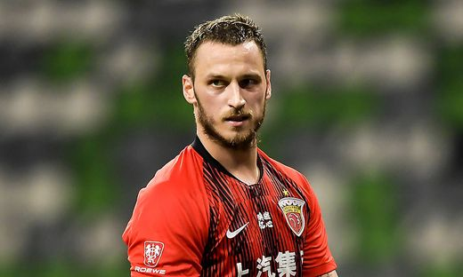 Austrian football player Marko Arnautovic of Shanghai SIPG F.C. reacts during the seventh-round match of 2020 Chinese Su