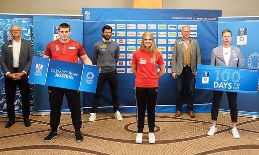 Von links: Karl Stoss (ÖOC), Stephan Hegyi (Judo), Jürgen Melzer (Tennis), Marlene Kahler (Schwimmen), Peter Mennel (ÖOC) und Peter Herzog (Leichtathletik)