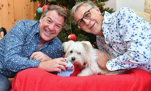 Patrick Lindner und Peter Schaefer mit Hund Obelix