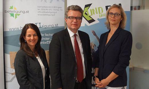 Daniela Köck (beteiligung.st), Landesrat Christopher Drexler, Uschi Theißl (LOGO jugendmanagement)