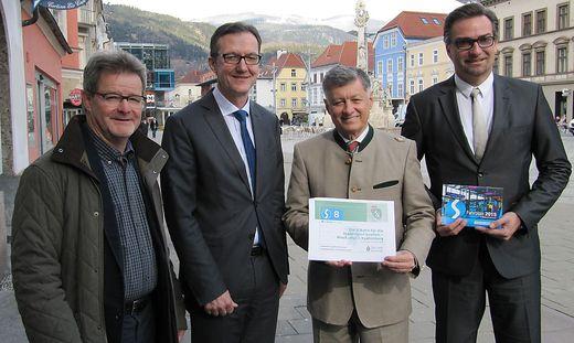 Bundesrat Gerd Krusche, Franz Suppan (ÖBB), Landesrat Gerhard Kurzmann, Landesbaudirektor Andreas Tropper