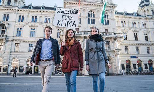 Jakob, Marlene und Seidel organisierten die Demo am 15. Februar in Graz