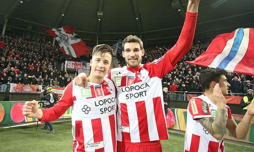 Die GAK-Spieler Alexander Rother (links) und Philipp Wendler jubelten
