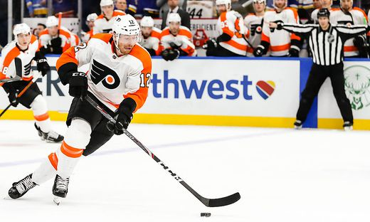 ST. LOUIS, MO - JANUARY 15: Philadelphia Flyers Michael Raffl skates with the puck during the overtime period of an NHL,