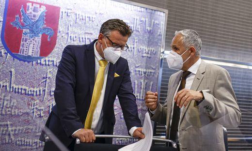 Bürgermeister Christian Scheider und Finanzreferent Vizebürgermeister Jürgen Pfeiler werden auch heute einiges zum Bereden haben.