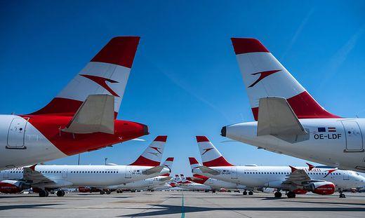 ++ HANDOUT ++ CORONAVIRUS - AUSTRIAN AIRLINES-FLUGZEUGE AM FLUGHAFEN WIEN GEPARKT