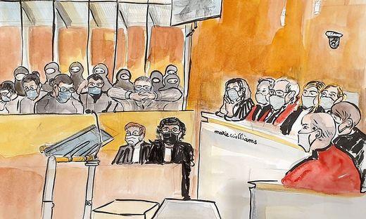 Gerichtszeichnung des Urteils