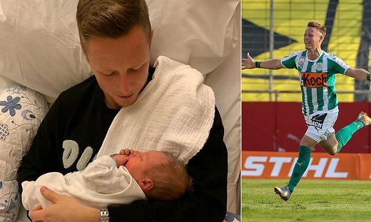 Mattersburg-Kicker Fabian Miesenböck mit seinem kleinen Racker Lian Luis im Arm
