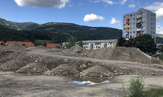 In Leoben-Lerchenfeld wurden große Mengen an Erd- und Schottermaterial abgelagert und aufbereitet