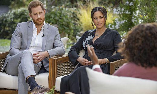 Prinz Harry  und Meghan beim Interview mit Oprah Winfrey am 7. März