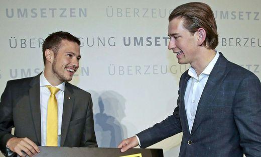 Schuschnig 2014 beim Parteitag der Jungen ÖVP mit Kurz
