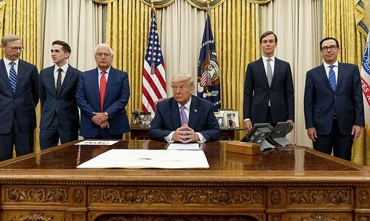 Donald Trump, David Friedman, Avraham Berkowitz, Jared Kushner, Steven Mnuchin, Brian Hook