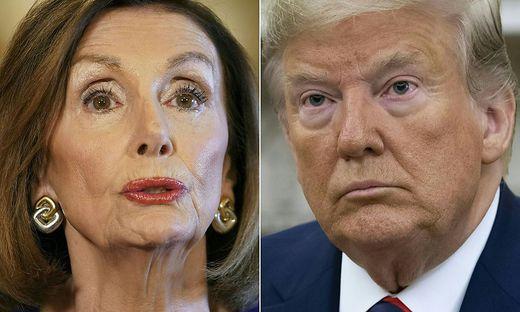 Die Präsidentin des Abgeordnetenhauses, Nancy Pelosi und Präsident Donald Trump
