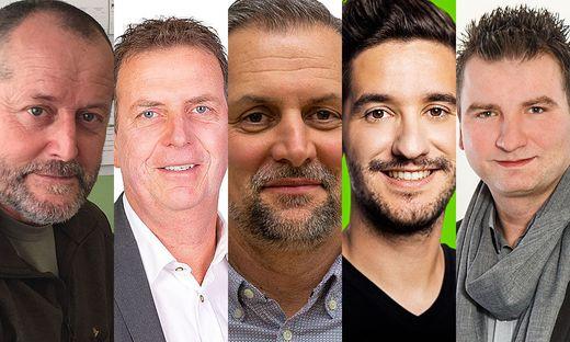 """Die Spitzenkandidaten in Tillmitsch: Bürgermeister Erich Macher (ÖVP), Walter Novak (SPÖ), Robert Gritsch (""""Wir für Tillmitsch""""), Georg Schwarzl (Grüne), Michael Paulitsch (FPÖ)"""