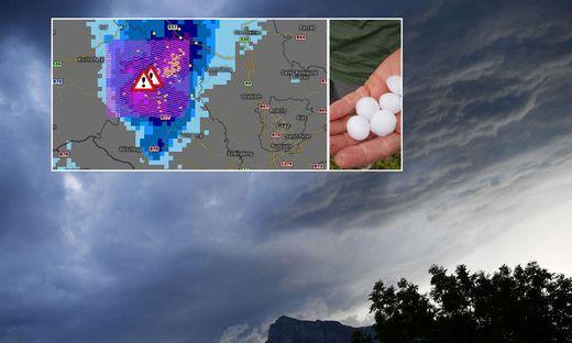 Riesige Hagelkörner im Bereich Südweststeiermark, Sturzflutwarnung für das Glein- und Stubalmgebiet