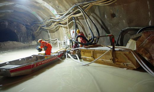 Wassereinbruch bei der Baustelle Semmeringbasistunnel