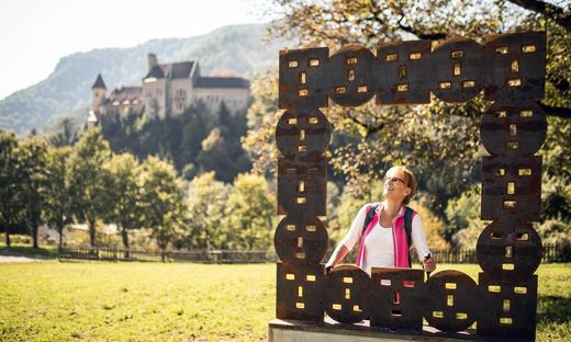 Einer der Rahmen, dahinter Schloss Eberstein