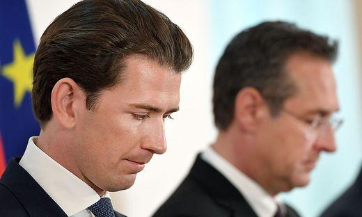 MINISTERRAT: Gingen erneut auf Distanz zu den Aktivitäten einzelner FPÖ-Funktionäre: Kanzler Kurz und Vize Strache/ STRACHE