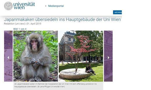 Die Website der Uni Wien berichtet von der Übersiedlung der Affen
