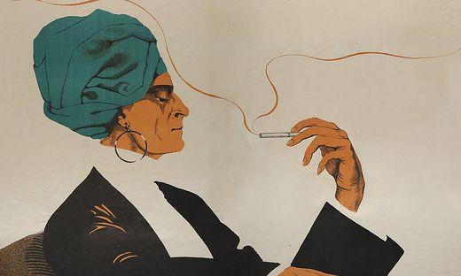 """Ausschnitt aus: Plakat """"Mirus. Antinikotin"""" von Mara Schrötter-Malliczky (1919)"""