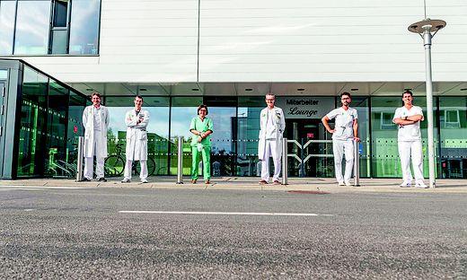 Angiologie-Team: Günther Silbernagel, Philipp Jud, Marianne Brodmann (Abteilungsleiterin), Thomas Gary, Reinhard Raggam, Paul Gressenberger