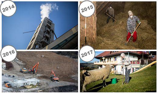 Bilder aus drei Jahren nach dem HCB-Skandal. Rechts unten: Rosalinde Tessmann ist eine von vielen Görtschitztalern, die heute wieder positiv in die Zukunft blicken