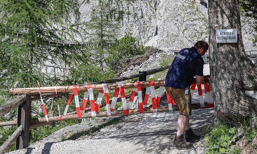 Die Eishöhle und der Zustieg dürfen seit dem Unfall nicht betreten werden