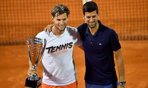 Dominic Thiem und Novak Djokovic