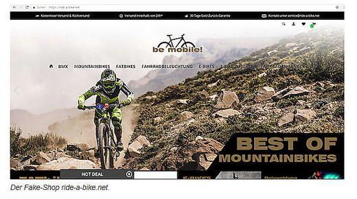 So sieht die betrügerische Fahrrad-Seite im Internet aus