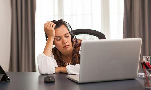 Overworked female entrepreneur