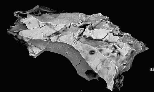 Ein Mikrometeoriten in einer stark vergrößerten Darstellung. Das Korn ist nur etwa 0,2 Millimeter groß
