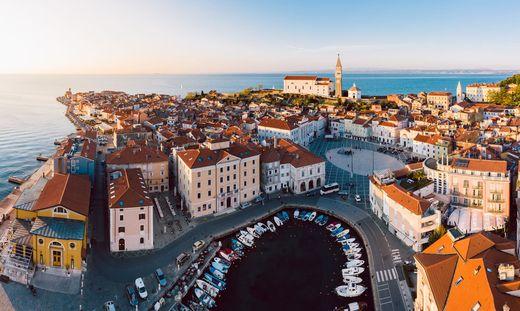 Aerial panorama of Slovenian city Piran