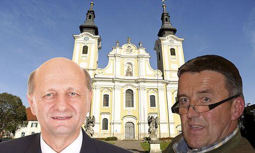 Harald Schögler (SPÖ, links) will mit seinem Team Favorit Manfred Tatzl (VP) Stimmen abjagen
