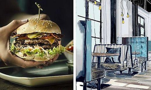 Burger und Co. kann man in Graz auch auf solchen Schaukelbänken schmausen