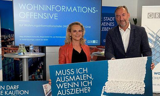 Stellten die Informationsoffensive am Donnerstag vor: Astrid Glauninger, Leiterin der Wohnungsinformationsstelle, und Vizebürgermeister und Wohnbaustadtrat Mario Eustacchio (FPÖ)