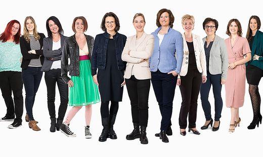Kristin Grasser, Claudia Onitsch-Woath und Angelika Wieltschnig (5., 6. und 7. von links) mit dem GOW-Team