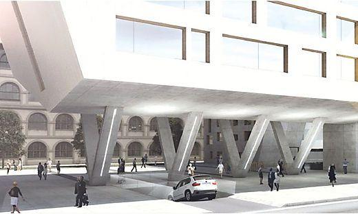 Das historische Gebäude an der Hofhinterseite - im Bildhintergrund zu sehen - wird saniert, an der Front zur Straße ist ein Neubau geplant.