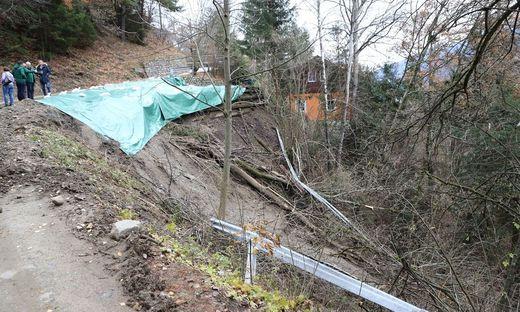 Völlig ruinierte Wege in Obervellach.